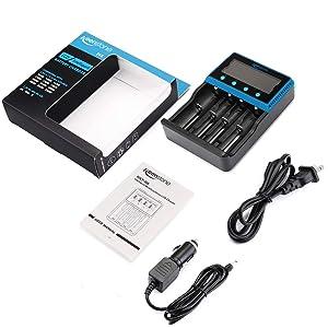 18650 Battery Charger, Keenstone Smart Universal Charger LCD Display for Rechargeable Batteries Ni-MH Ni-Cd AA AAA Li-ion LiFePO4 IMR 10440 14500 16340 RCR123A 26650 (Tamaño: 4 Bay)