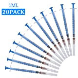 20Pack-1ml Syringes with Needles and Caps,Veterinary Disposable Syringe,Single sterile Individually Packaged (1ML)