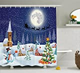 Christmas Shower Curtain Snowman Christmas Bathroom Acessories by Ambesonne, Santa Reindeer Christmas Eve in Small Town with on Starry Night Winter Scene, Polyester Fabric Set with Hooks, Blue White