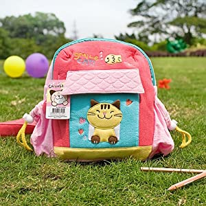 [Smile Cat] Embroidered Applique Kids School Backpack / Outdoor Backpack (7.9*8.7*2.4)