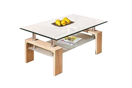 Links 19400020 Couchtisch Glas Sonoma-Eiche Tisch Wohnzimmertisch Beistelltisch 110x60 cm NEU