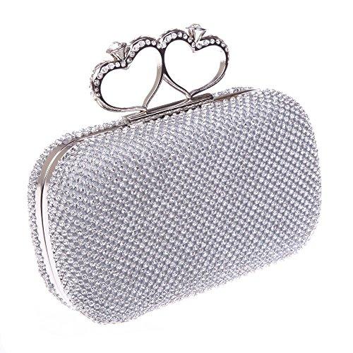 Fawziya Bling Heart Ring Clutch Purse Rhinestone Clutch Evening Bag-Silver