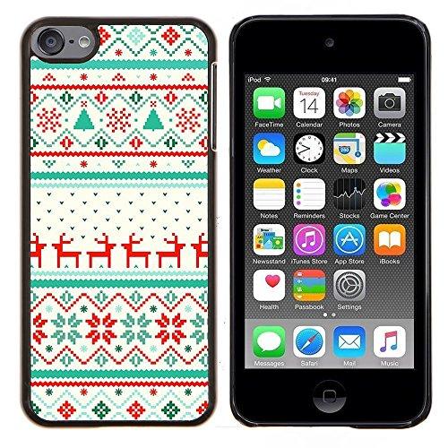 TECHCASE---Pelle della copertura di caso di protezione dura ** Apple iPod Touch 6 6th Touch6 ** --Motivo inverno Renna Maglione