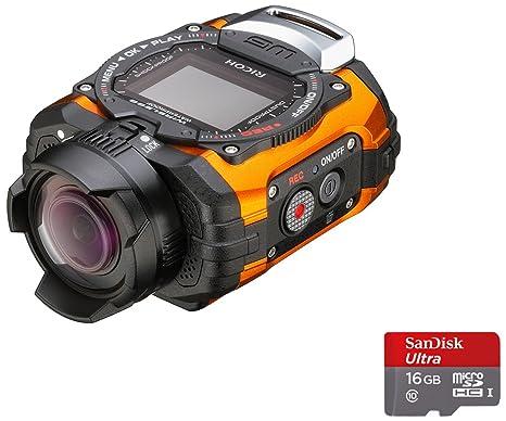 Ricoh WG-M1 Caméra  étanche miniature + Dragonne avec Mousqueton + Support adhésif + Carte Micro SD 16 Go 14 Mpix Orange