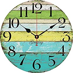 Grazing 12 Vintage Blue Green Yellow Colorful Stripe Design Rustic Country Tuscan Style Wooden Decorative Round Wall Clock (Ocean)
