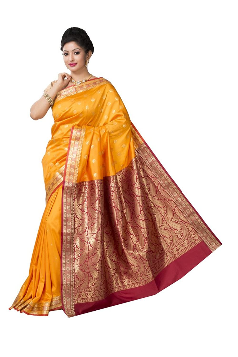 ISHIN Cotton Silk Yellow Saree available at Amazon for Rs.3599
