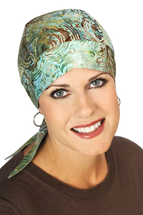 Cotton Batik Headwrap for Women with Cancer, Chemo, and Hair Loss - River Bed