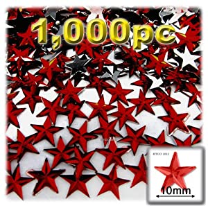The Crafts Outlet 1000-Piece Flat Back Star Rhinestones, 10mm, Devil Red Wine