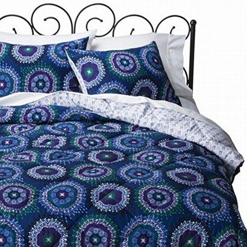 Xhilaration Full Queen Blue Kaleidoscope Dot Comforter & Shams Set Reversible front-984468