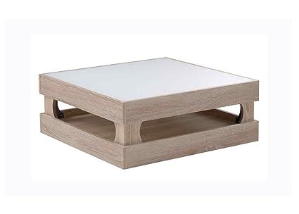 Couchtisch Wohnzimmertisch Eiche Sonoma 75 x 75 cm mit weisser Glasablage auf Rollen. Stabiler Holzplattentisch aus Spanplatte