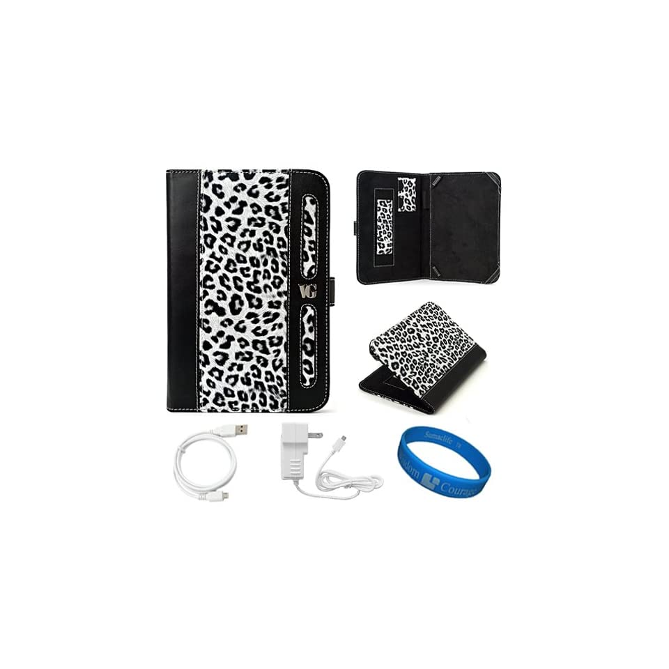 Dauphine Edition White Leopard Executive Leather Folio Case Cover for  Kindle Fire 7 inch Multi Touch Screen Tablet   8GB Android Wireless (Wifi) Tablet + White Micro USB Wall / Home Charger + White Micro USB Sync Data Cable + SumacLife TM Wisdom Cou