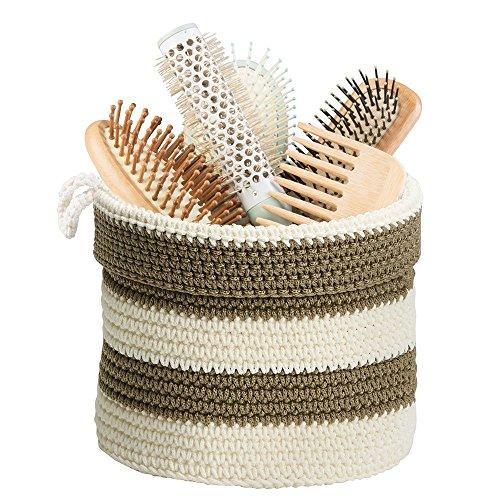 Corbeille de rangement, Mdesign Bathroom Knit, pour le maquillage, les produits de beauté, lotions - Khaki / Ivoire