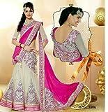 Bridetouch Women's Velvet & Net Lehenga Choli (PINK_PINK_Free Size)
