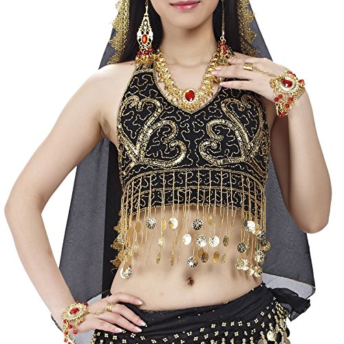 BellyLady Tribal Belly Dance Costume Halter Gold Coins Bra Top With Fringe