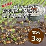 【自宅用】[玄米]安くておいしいお米 新潟県産コシヒカリ 完全無農薬米[3キロ]
