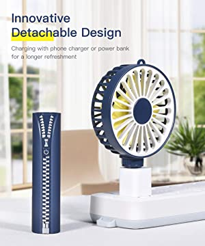 Mini Handheld Fan, Portable Personal Hand Held Fan with Multifunction Base, USB Fan Rechargeable Battery Operated Desk Table Fan, 3 Speed Settings, Id