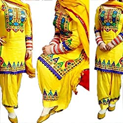 Shreenathji Enterprise Yellow Cotton Dress Materials (H130_yellow_Free size)
