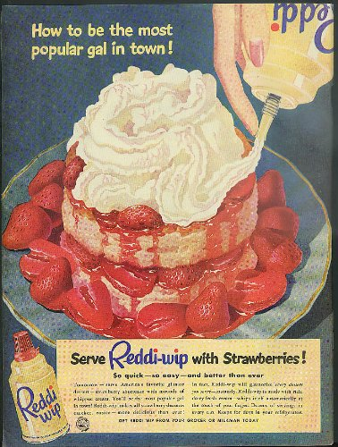 how-to-be-the-most-popular-gal-in-town-reddi-wip-with-strawberries-ad-1951