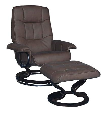 Sillón de cuero de la PU de televisor de TV de sillón con taburete de madera de colour marrón de sala de estar