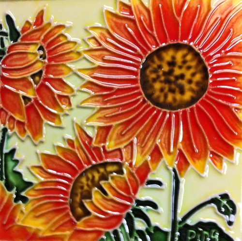 Continental Art Center SD-003 4 by 4-Inch Three Sunflowers Ceramic Art Tile