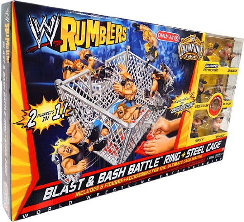 WWE Wrestling Rumblers Exclusive Blast Bash Battle Ring Steel Cage FirstEver Rumblers Title Belt! (Wwe Rumblers Steel Cage compare prices)