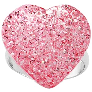 Light Pink Sparkler Heart Adjustable Ring