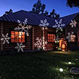 Snowflakes Spotlight Lamp NetBoat Indoor/Outdoor Automatically LED Moving Projector Light for Wall and Tree Christmas Holiday Garden Landscape Decoration (White)