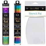 Deco Foil Double Rainbow Set - Rainbow Shattered Glass and Rainbow Specialty Transfer Sheets with Stencil Pals (Color: Rainbow)