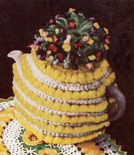 Vintage Crochet PATTERN to make - Ruffled Flower Bouquet Tea Cozy Flower Motifs. NOT a finished item. This is a pattern and/or instructions to make the item only.