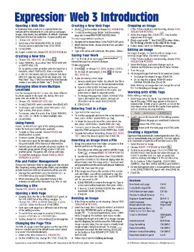 Expression Web 3 Introduction Quick Reference Guide (Cheat Sheet of Instructions, Tips & Shortcuts - Laminated Card)
