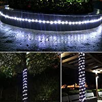 MeiKee 100 LED Solar Rope Lights, 33ft,Daylight White, Outdoor Waterproof Solar Rope Lights , Ideal for Decorations, Christmas,Gardens, Lawn, Patio, Weddings, Parties.[Energy Class A+] by MeiKee