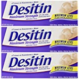 Desitin Maximum Strength Original Diaper Rash Paste 4 oz tube (Pack of 3)