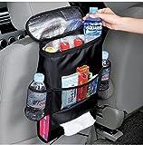 Ibepro 自動車 シート バッグ ポケット 大容量 シート バック ポケット 収納 車のシートに楽々取付け ティッシュカバー 保冷バッグ ドリンク 小物 ホルダー 保冷保温シートバックポケット ブラック。