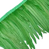 Sowder Rooster Hackle Feather Fringe Trim 10-12inch in Width Pack of 1 Yard(Lime Green) (Color: Lime Green)