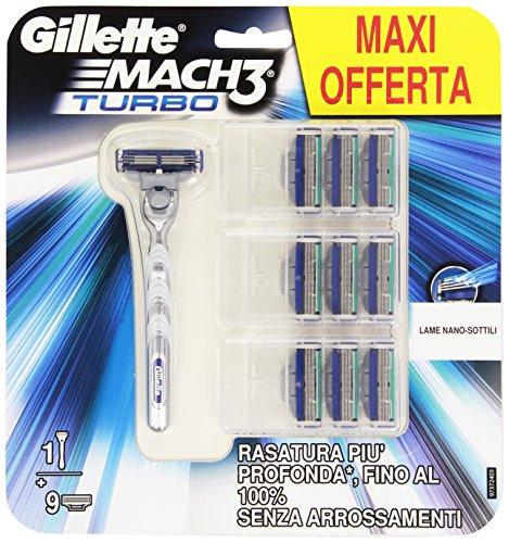 Gillette Mach 3 Turbo Rasoio, Formato Risparmio, con 10 Lame