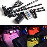 4pc. Multi-Color 7 Color LED Interior Underdash Lighting Kit, With Sound Active Function and Wireless Remote Control