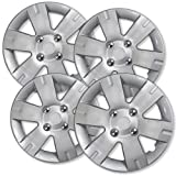 OxGord Hub-caps for 03-12 Nissan Sentra (Pack of 4) Wheel Covers 15 inch Snap On Silver (Color: Silver, Tamaño: 4pc)
