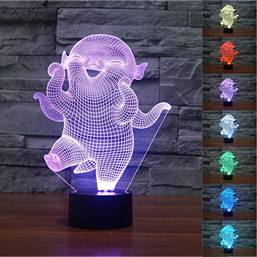 SUPERNIUDB Creative Anime Cartoon 3D Hubal Night Light LED USB 7 Color Change LED Table Lamp Xmas Toy Gift