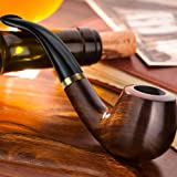 Scotte Tobacco Pipe Handmade Ebony Wood root Smoking Pipe Gift Box and Accessories (Black&A) (Color: Black&a)