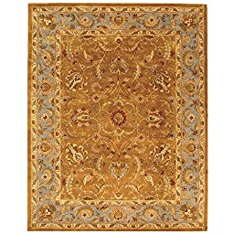 Safavieh Heritage Collection HG812A Handmade Brown and Blue Wool Area Rug, 8 feet by 10 feet (8\' x 10\')