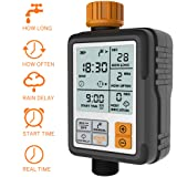 CROSOFMI Sprinkler Timer Digital Programmable Garden Lawn Hose Faucet Water Timer Irrigation System Controller/Child Lock Mode/Auto&Manual Mode/Rain Delay/3 Inches Large Screen/IP65-UPGRADE (Color: Black)