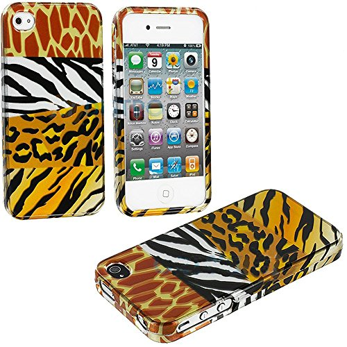 Mylife (Tm) Mixed Animal Print Series (2 Piece Snap On) Hardshell Plates Case For The Iphone 4/4S (4G) 4Th Generation Touch Phone (Clip Fitted Front And Back Solid Cover Case + Rubberized Tough Armor Skin)