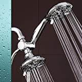 Two Head Shower-Head, Kictic Full-Chrome 24 Function Ultra-Luxury 3-way 2 in 1 Shower-Head /Handheld-Shower Combo,6 settings include