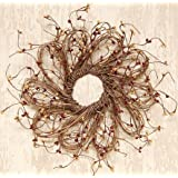 CWI Gifts Burgundy and Gold Flower Shape Pip Wreath, 12-Inch