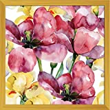 ArtzFolio Purple Tulips And Yellow Irises - MEDIUM Size 20inch X 20inch (50.8cms X 50.8cms) Including 1 Inch Wide Frame - PREMIUM MUSEUM-GRADE CANVAS Wall Paintings With GOLDEN COLOUR NATURAL WOOD FRAME: DIGITAL PRINT Wall Posters Art Panel Like Hand Pain