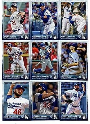 2015 Topps Baseball Cards Los Angeles Dodgers Complete Master Team Set (Series 1 & 2 + Update - 45 Cards) including Andre Ethier, Clayton Kershaw, Yimi Garcia, Joc Pederson Rookie Card (2), HyunJin Ryu, Zack Greinke, Matt Kemp, Brandon League, Crawford, K