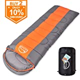 LATTCURE Sleeping Bag, Comfort Portable Lightweight Envelope Sleeping Bag Compression Sack Camping,Hiking,Backpacking,Traveling Other Outdoor Activities -Single,Orange+Grey,(75