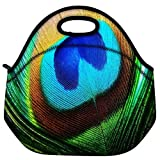 Snoogg Peacock Feather Closeup Travel Outdoor Carry Lunch Bag Picnic Tote Box Container Zip Out Removable Carry Lunchbox Handle Tote Lunch Bag Food Bag For School Work Office