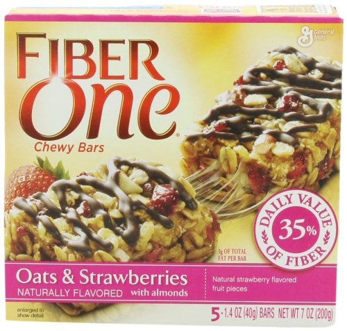 Fiber One Chewy Bars, Oats 'n Strawberry with Almonds, 5-Count Boxes (Pack of 12)