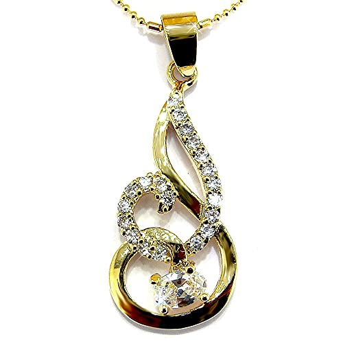 Simulated Diamond CZ Dangle Rose Gold Tone Pendant with 18Necklace